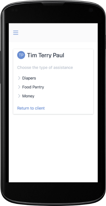Screenshot of providing assistance on mobile